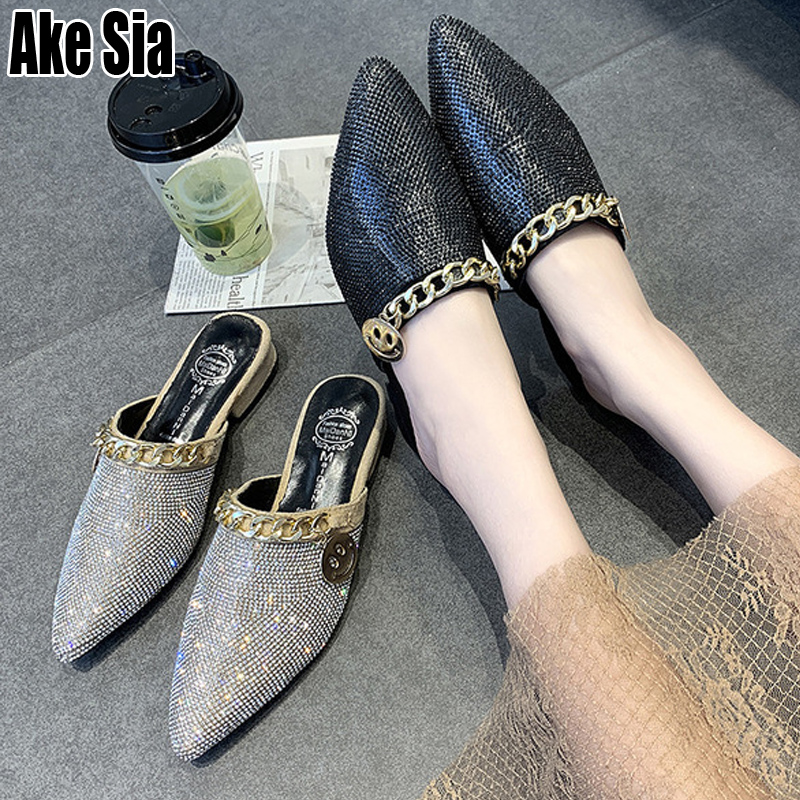Nightclub Women Fashion Rhinestone Pointed Toe Sexy Chain Casual Half Mules Babouche Slippers Low Chunky Heels Slides Shoes A490