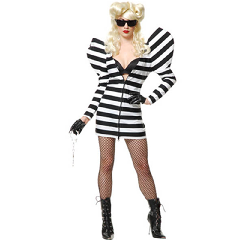 Prison Design Black & White Striped Dress Zipper At Center Front Ladies Gaga Costume Funny Cosplay Singer Fancy Outfit L1399