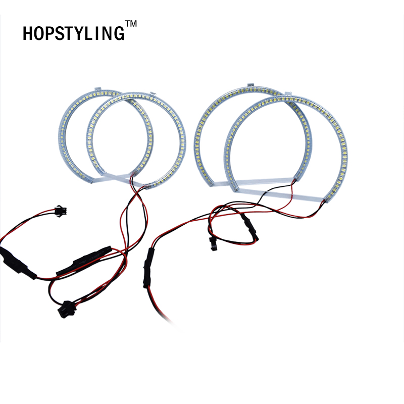 HOPSTYLING 4 Pcs Xenon Putih SMD LED Angel Eyes Halo Rings lampu - Lampu mobil - Foto 3