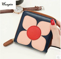 2017 latest lady wallet Female short section zipper handle bag Lovely flower purse Mini wallet Fashion brand design wallet