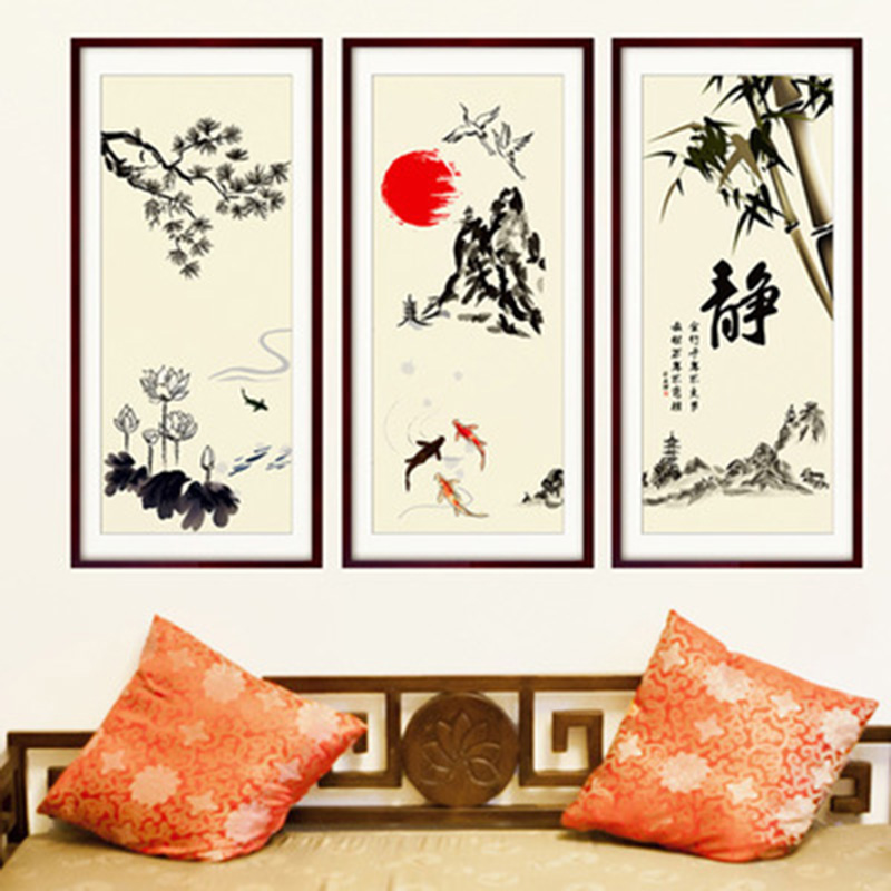 Chinese Elements Lotus Tree Branches Fish Pool Sun Bamboo Mountain Wall Sticker Home Decor Fake Frame Wallpaper Poster Art Decal