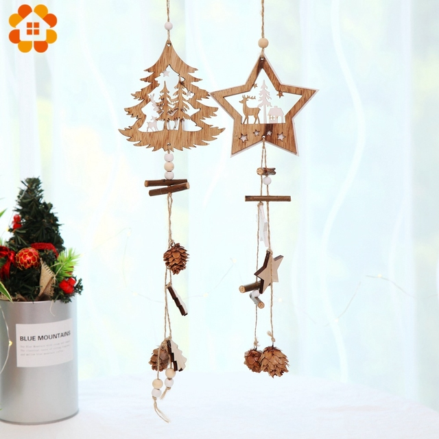 1PC DIY Christmas Tree&Star Double Sided Wooden Pendants Ornaments For Christmas Party Xmas Tree Decorations Kids Gifts Supplies