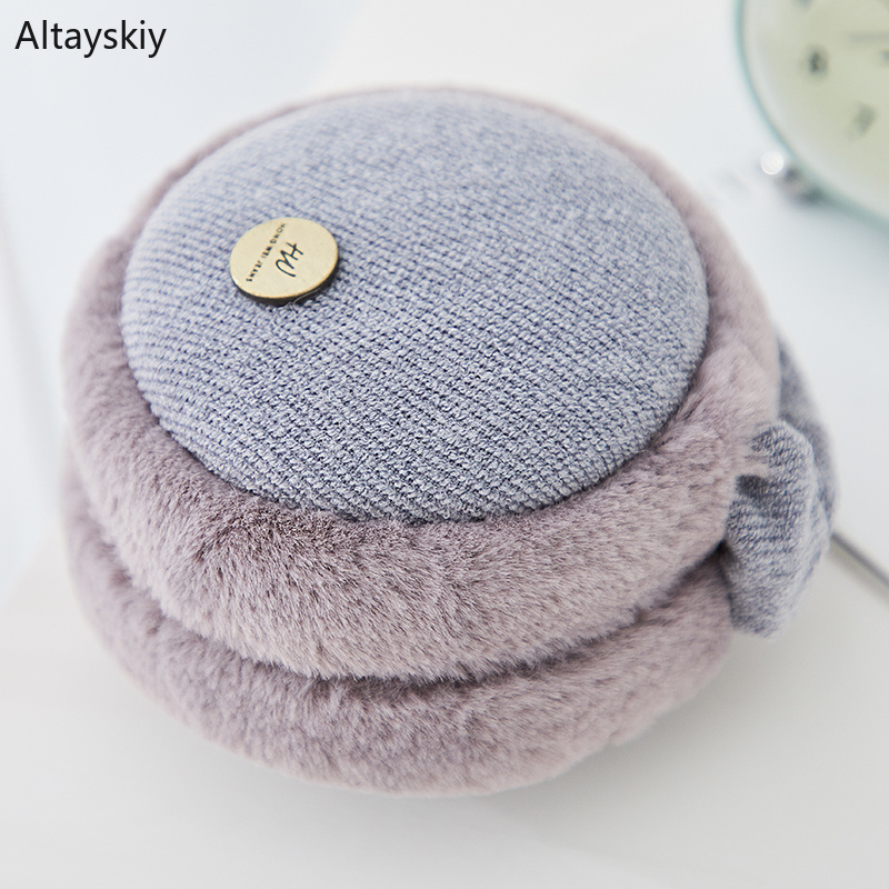 Earmuffs Women Solid Plush Plus Velvet Elegant Warm Winter Womens Ear Korean Style All-match Kawaii Trendy Earmuff Simple Daily