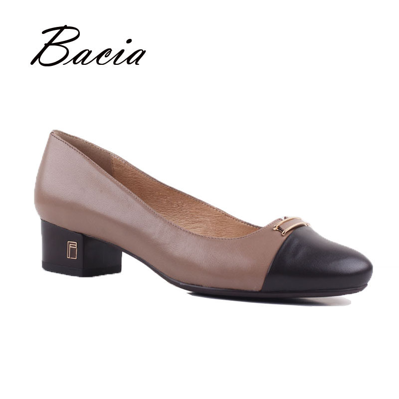 Bacia Women Old Fashion Black Brown Patchwork Thick Heel Pumps Round Toe High Quality Genuine Leather Heels OL Lady Shoes VD015 цена