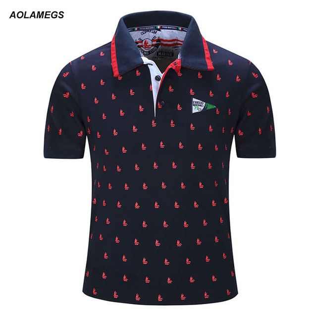 Aolamegs Men Polo Shirt Mens Full Printing Polo Homme Casual Short Sleeve Tops 2017 Spring Summer New Brand Cotton Polos Camisa
