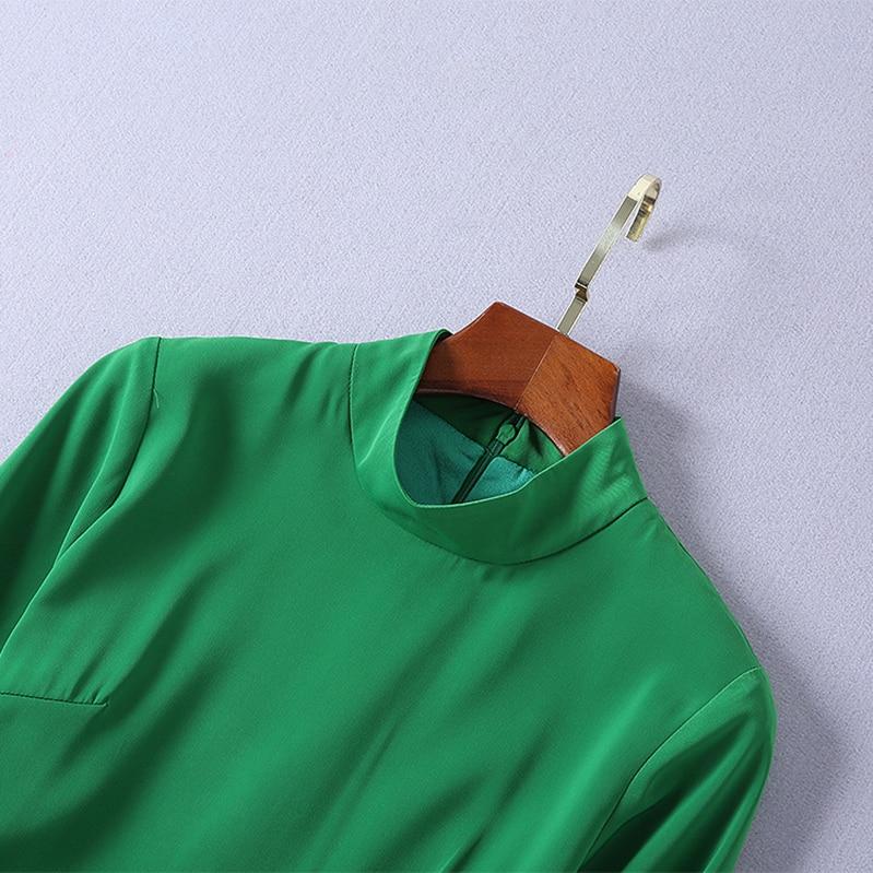 Robe Gamme Plissée Manches Taille Nouveau Longues 2018 Montant Américain Et Haut Vert Femmes Européenne Col Automne Concepteur De Mince Robes HwHzYq5