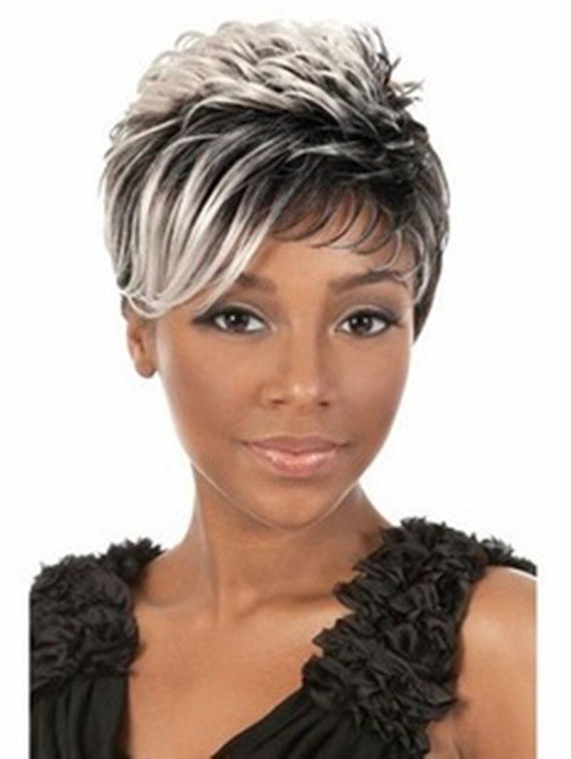 tienda online forme a mujeres cut peinado pelucas sintticas pelo corto recto pelucas del pelo ombre con flequillo para africanos americanos mujeres peluca