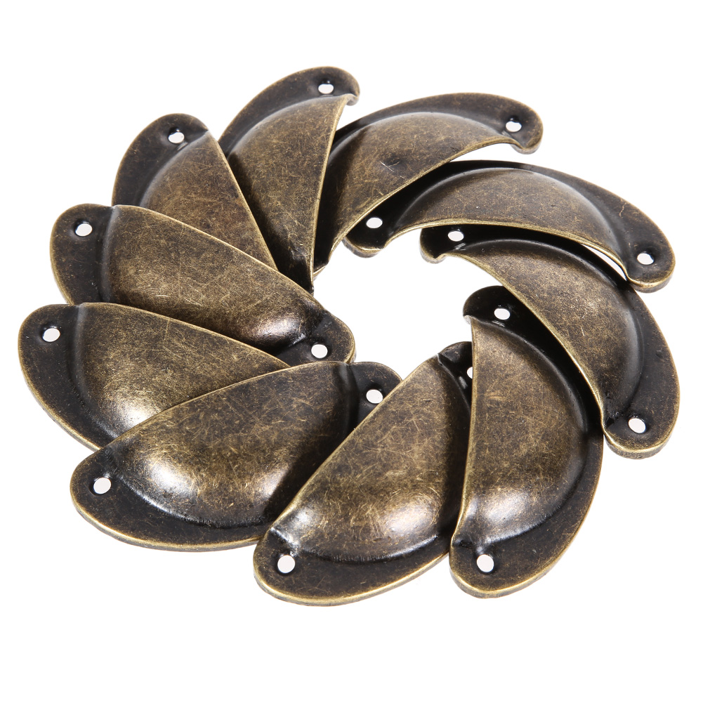10 Pcs Vintage Cabinet Knobs And Handles Cupboard Door Cabinet Drawer Furniture Hardware Antique Brass Shell Pull Handles