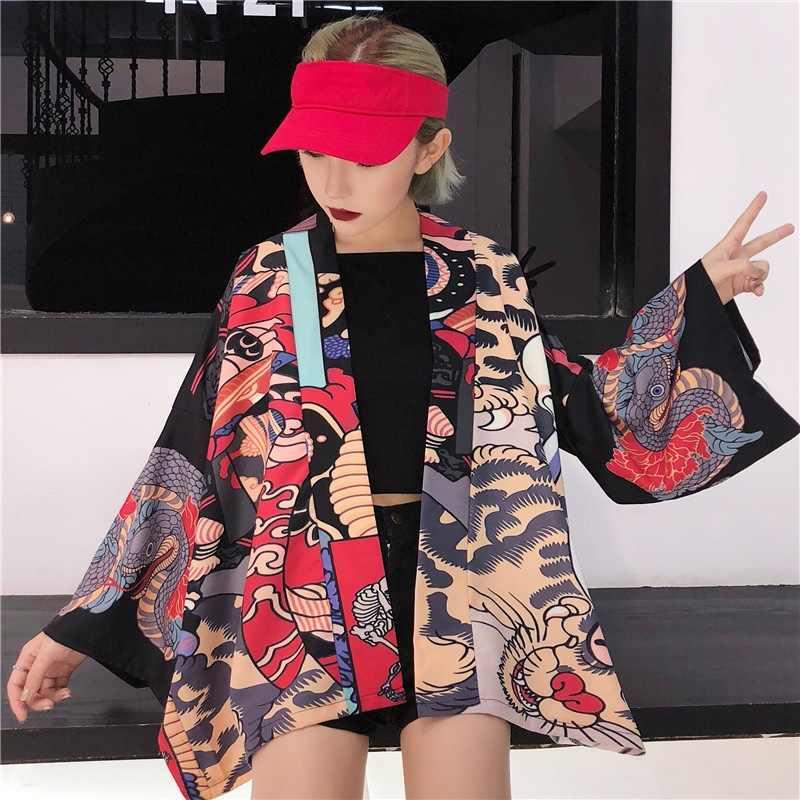 Кимоно кардиган блузка рубашка летние пляжные кимоно женщина 2018 Косплей юката женский obi японский уличная komono KK2451