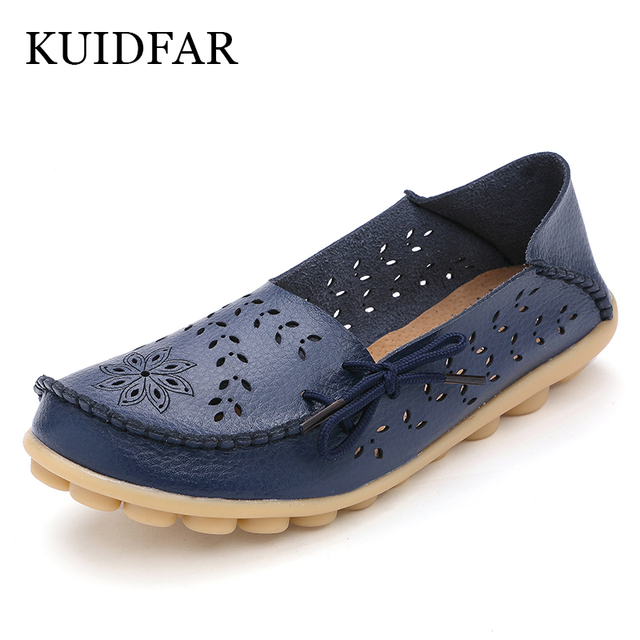 KUIDFAR Womens Flats Loafers New Women Real Leather Shoes Moccasins Mother Loafes Soft Women Shoes 2017 Woman Soft Sole black