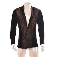 Latin dance costume man shirt velvet fabric lace front shirt V collar Latin coat MS15006 performance costume men latin