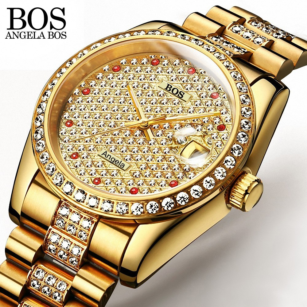 ANEGLA BOS Full Diamond Gold Watch Self-wind Mens Watches Top Brand Luxury Automatic Mechanical Watches For Men Waterproof Date women favorite extravagant gold plated full steel wristwatch skeleton automatic mechanical self wind watch waterproof nw518