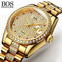ANEGLA BOS Full Diamond Gold Watch Self wind Mens Watches Top Brand Luxury Automatic Mechanical Watches For Men Waterproof Date