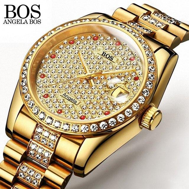 Anegla Bos Voller Diamanten Gold Uhr Selbst Wind Herren Uhren Top
