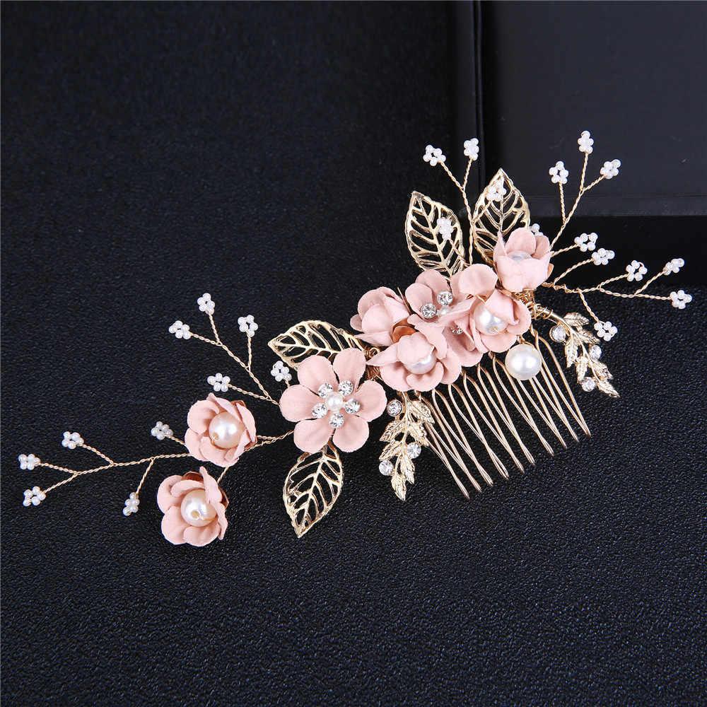 1Pc moda luksusowa niebieska kwiatowa do włosów grzebienie stroik Prom ślubne akcesoria do włosów złote liście biżuteria do włosów szpilki do włosów