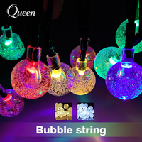 Crystal Ball LED String Lights Globe Bulbs Solar Panels Waterproof Outdoor Lighting String Fairy Light Garden
