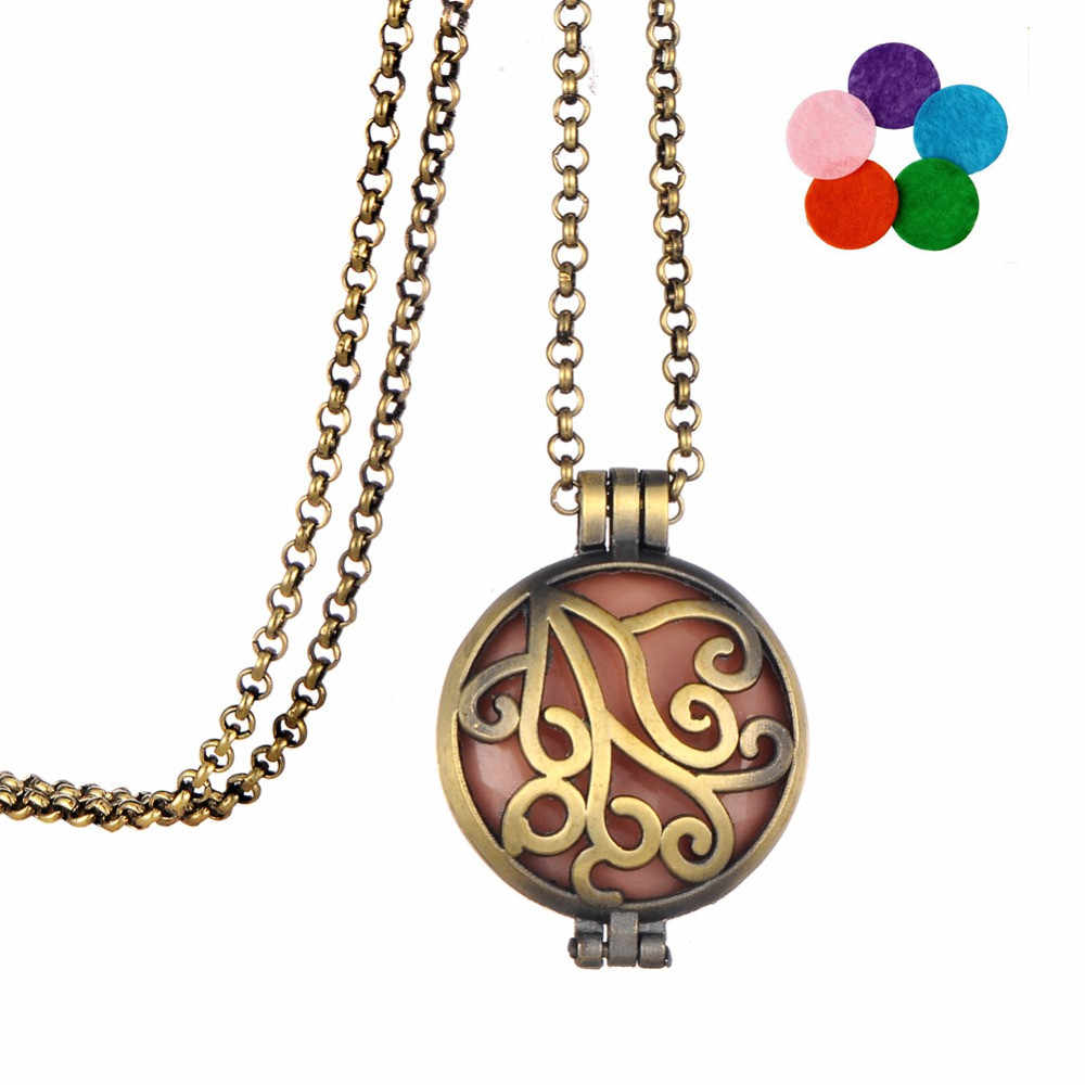 Clearance Vintage Tree Moon Necklace Locket Pendant Essential Oil Aromatherapy Diffuser Necklace