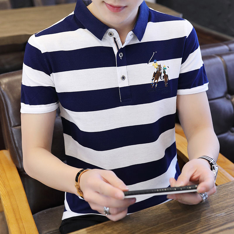 Striped   Polo   Shirts Men Golf Outwear Tops 2019 Hot Sale Cotton Brand Clothes Men's   Polo   Shirt Embroidery Casual   Polos   Male 4XL