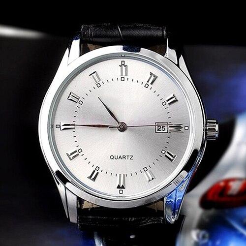 Men's watch Vintage Date Calendar Dial Faux Leather Business Analog Quartz Wrist Watch  6T3D 941Y