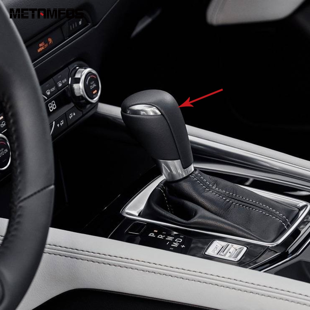 For Mazda 2 3 6 CX-3 CX-5 CX-9 Car Carbon Fiber Print Gear Shift Knob Cover Trim