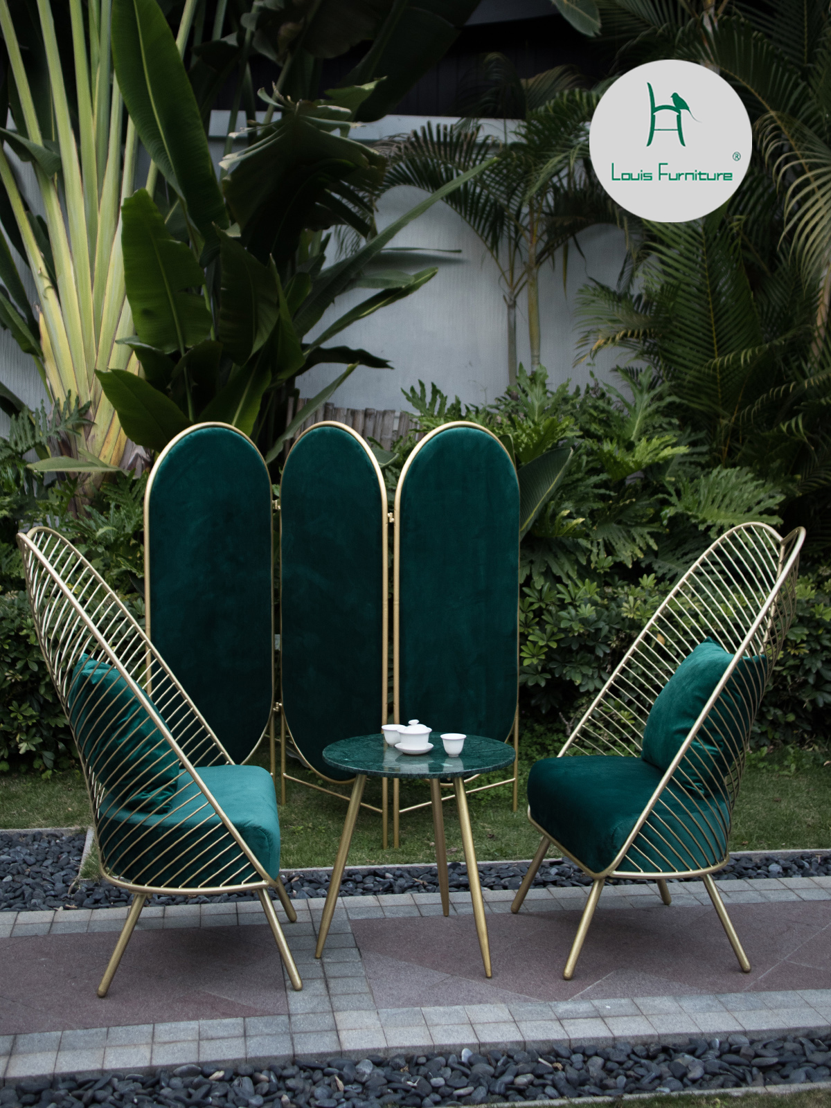 Louis fashion Garden Chairs Recreational Table and Chair Three