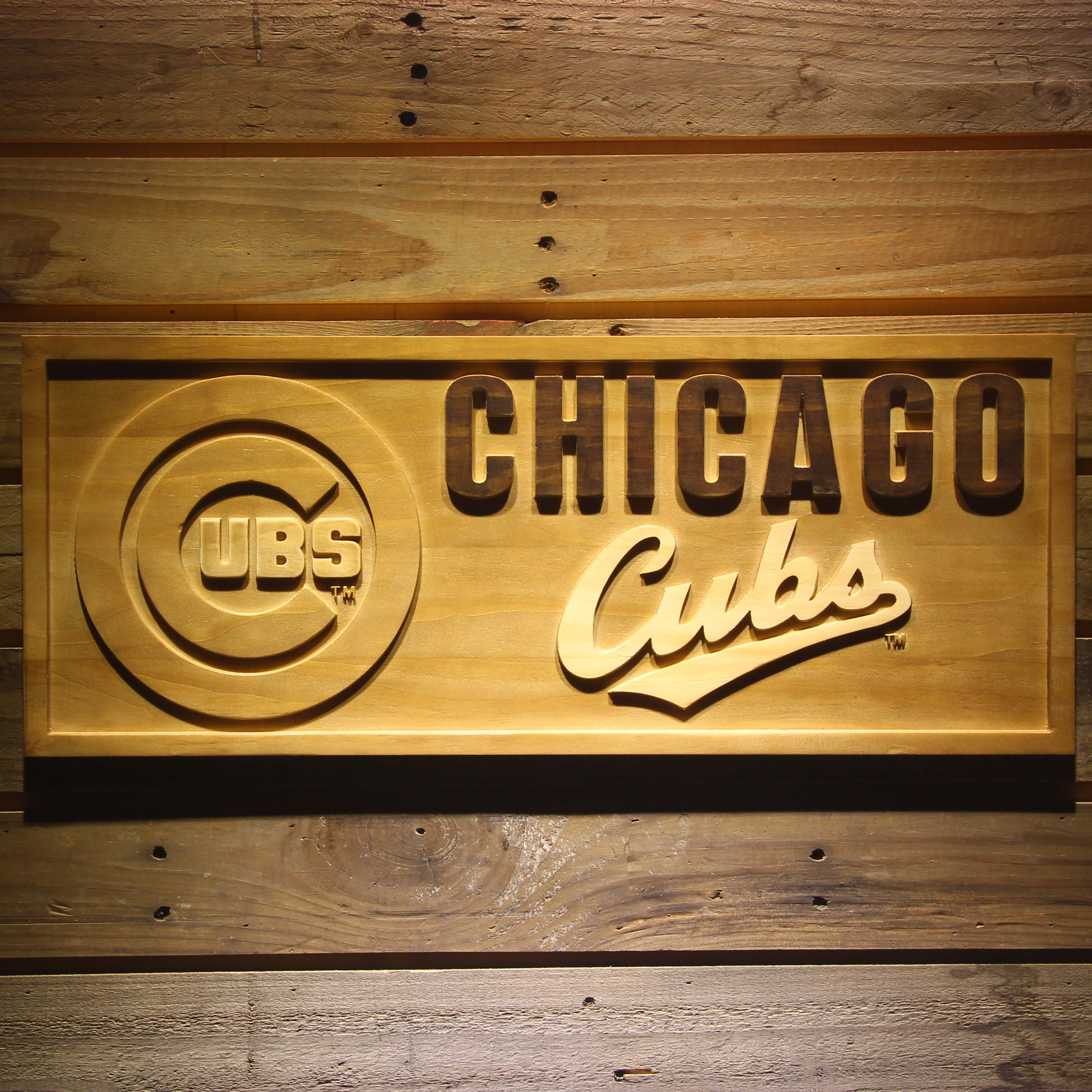 Chicago Cubs 3D Wooden Sign-in Plaques & Signs from Home & Garden on ...