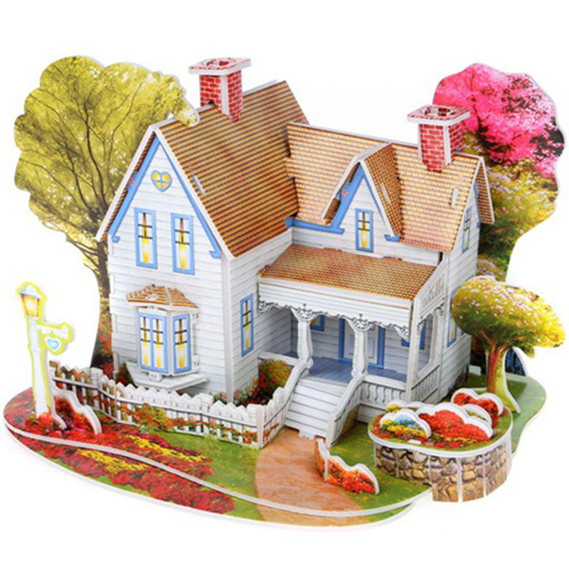 >3D <font><b>DIY</b></font> Puzzle Castle <font><b>Model</b></font> Cartoon House Assembling Paper <font><b>Toy</b></font> Kid Early Learning Construction Pattern Gift Children House Puzzle