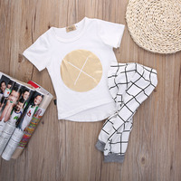 Baby 2pcs Clothing Set Wholesale Toddlers Newborn Infant Baby Girls Boys Clothes Gold Pattern Tops Plaid