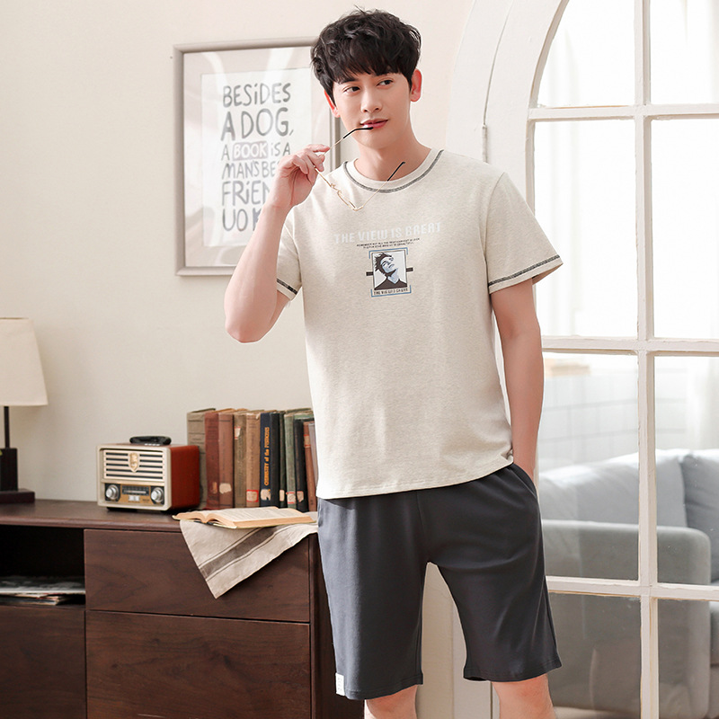 Men New Summer Korean Cotton Short Sleeve Shorts Thin Pullover Fashion Casual Two Piece Pajama Sets Mens Pajamas Men Pajamas