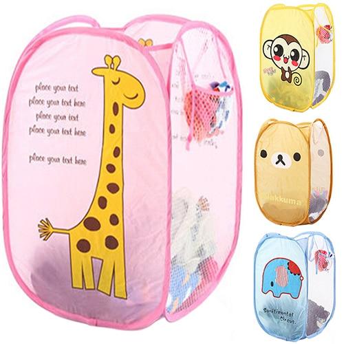 Foldable Pop Up Laundry Basket Hamper Washing Clothes Bag Bin Mesh Storage Clothing Organizer