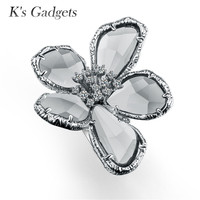 K's Gadgets Blue Gray Crystal Rose Gold Color Fashion Big Cubic Zirconia Flower Ring Cool Punk Cocktail Party Ring Women Jewelry