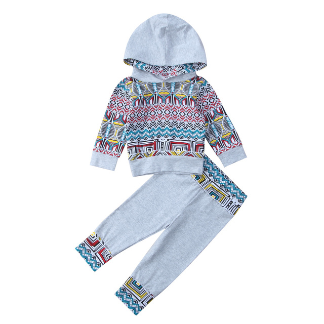 6e29f146d 2pcs Boho Baby boys girls clothes set Newborn infant Baby sweatshirt Hooded  Tops+Pants Outfits