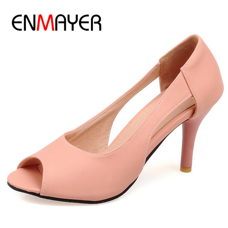 ENMAYER New Sexy Supper High Heels Peep Toe Pink Party Shoes Woman Plus Size 34-43 Slip-on Office&Career Summer Sandals Pumps enmayer summer women pumps shoes mixed colors peep toe slip on thin heels platform large size 34 47 red pink green brown