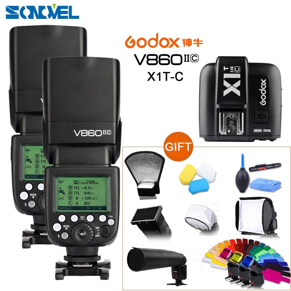 Livraison DHL 2x Godox V860II-C Speedlite GN60 HSS 1/8000 s TTL Flash Light + X1T-C Émetteur Sans Fil pour Canon + 10 Cadeau Kit