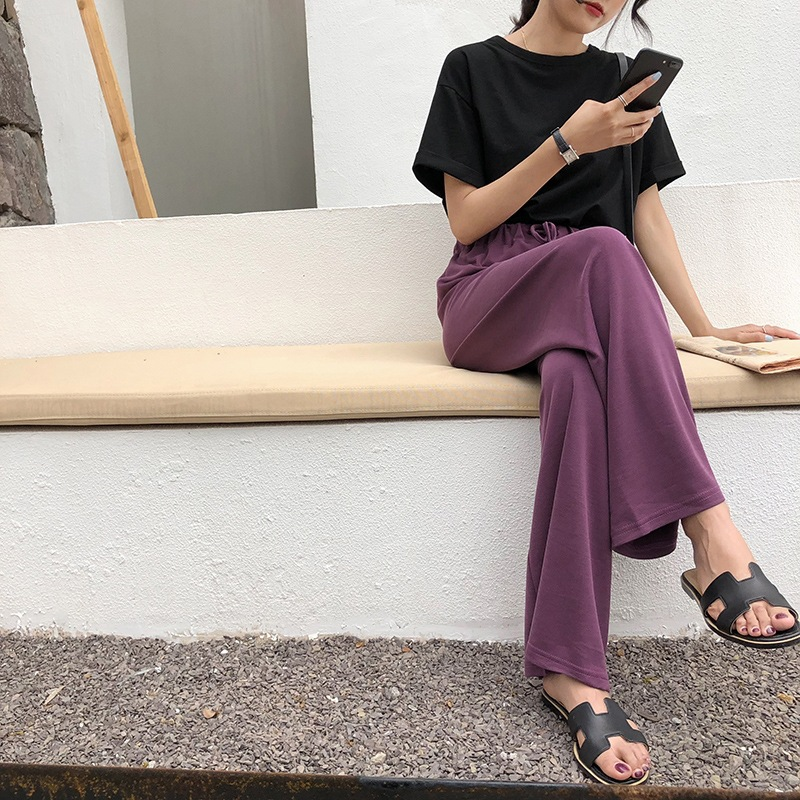 Casual Lace Up High Waist  Women Wide Leg Pants Black Pockets Palazzo Pants  Loose Solid Full Length Summer Trousers