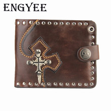 ENGYEE  New Boy Punk PU Leather Wallets Vintage Hasp Wallet Short Useful Special Trifold Card Money Holder Casual Men's Purse