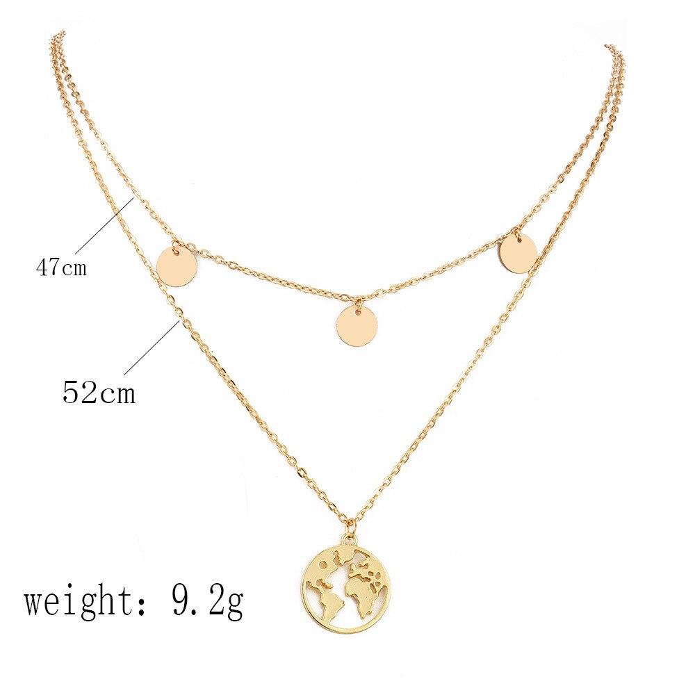Boho Layered Earth Pendant Necklace 2