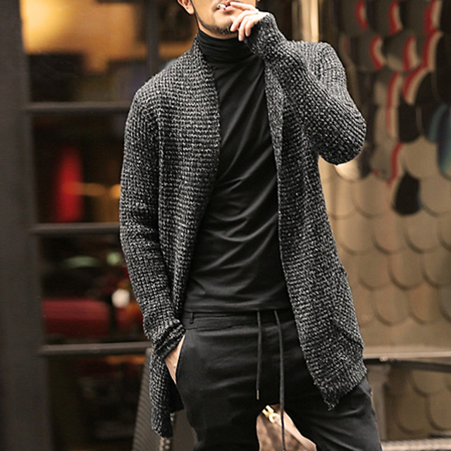 Mens Sweater Long Sleeve Cardigan Males Pull style cardigan ...