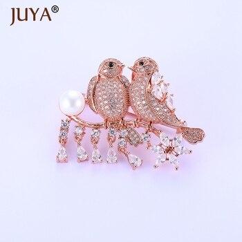 Elegante nova zircônia cúbica micro pavimentado amor aves vestir broche pino senhora cachecol fivela jóias acessório feminino presente de natal