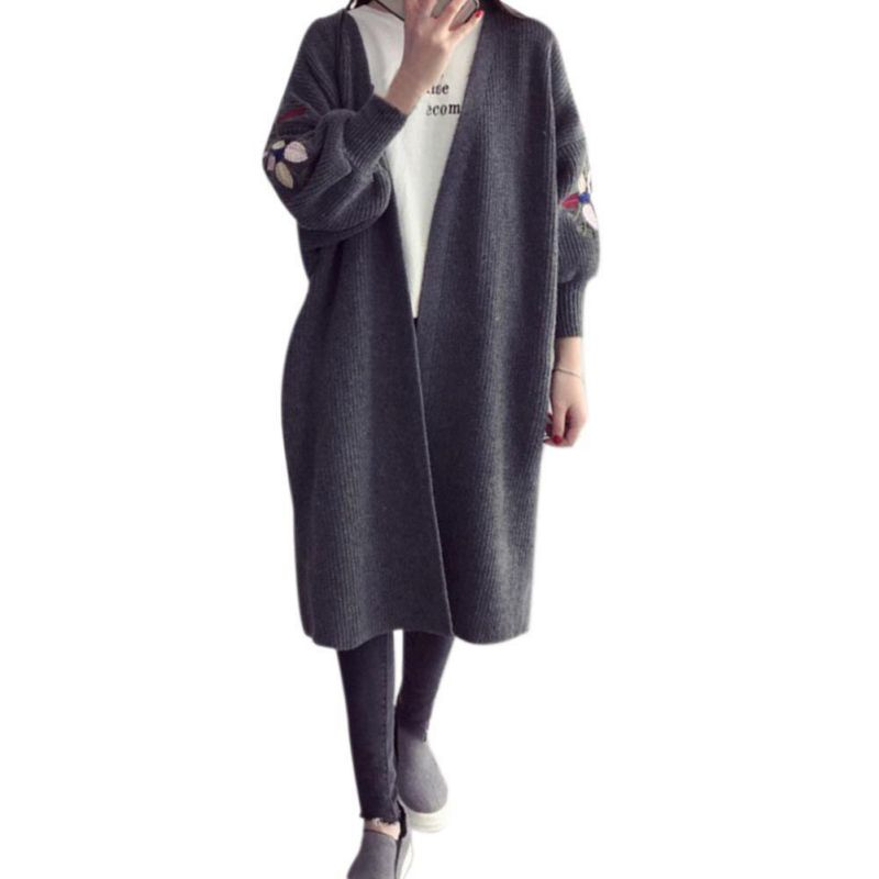Women Autumn Winter Long Loose Thick Knitted Cardigan Female Sweaters Long Coat Embroidered long-sleeved sweater cardigan W2