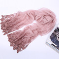 220X85CM Cotton Linen Women Lace Embroidery Long Scarves Spring Woman Head Scarf 2017 Brand Shawl Foulard Pashmina Wraps S6