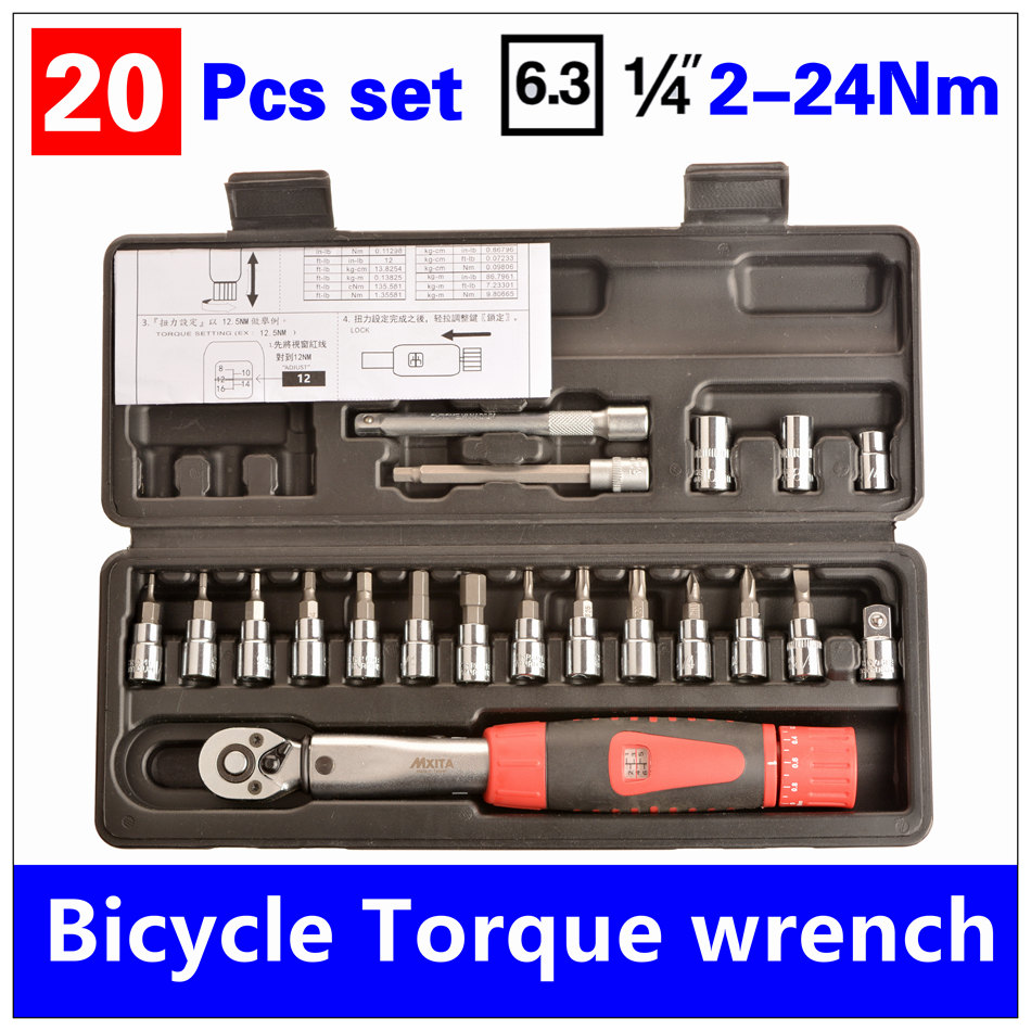 MXITA Top Quality 1/4DR 2-24Nm 20 Pcs torque wrench Bicycle bike tools kit set tool bike repair spanner Set hand tool set mxita 5pcs kit spanner tyre whorl torque wrench set car repair tool 1 2 28 210nm hand tool set