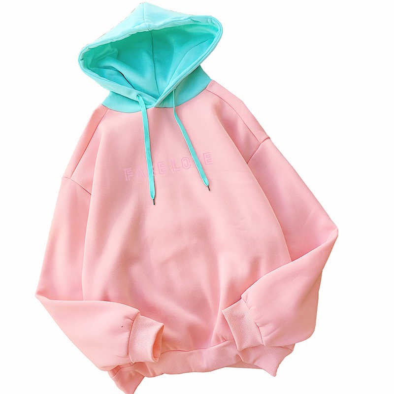 Frauen Jumper Herbst Brief GEFÄLSCHTE LIEBE Gedruckt Hoodies Sweatshirt Streetwear Harajuku Casual Koreanische Kpop Fleece Pullover Trainingsanzug