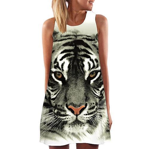 New  Women's Fashion Summer Round Neck Tiger Digital Print Sleeveless Vest Dress