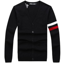 RICHARDROGER  Cotton Sweater Men Long Sleeve  Mens V-Neck Sweaters Loose Solid Button Fit Knitting Casual Style Clothing 098