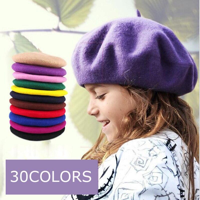 Kinder Wolle Berets Baby Kinder Frühling Herbst Winter Hüte Jungen Mädchen Neue Mode Kappen 30 Farben Freies Drop Verschiffen 1 stück Einzelhandel