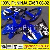 8Gifts Injection mold Body For KAWASAKI NINJA ZX 6R 00 02 INJ279 ZX 6R ZX6R 00 01 02 ZX636 636 2000 2001 2002 Fairing blue black