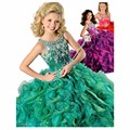 2017 Vestido Del Desfile de Las Niñas Brillo Bola Primicia vestido de Organza Cristales Riza Vestidos de Niña para Bodas Vestido de Fiesta para Niños