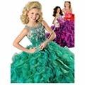 2017 vestido de Baile Colher Organza Cristais Vestido de Concurso para Meninas Glitz Ruffles Flower Girl Vestidos para Casamentos Vestido de Baile Crianças