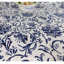 89cf154307f free shipping Chinese wind linen printed cloth blue and white porcelain  linen fabric national clothing fabrics